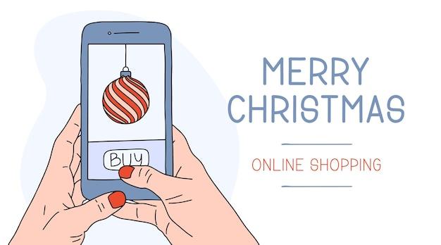 Kaukasische frauen- oder mannhand, die smartphone hält. weihnachten online-shopping. karikaturillustrationen der neujahrsferienwohnung.