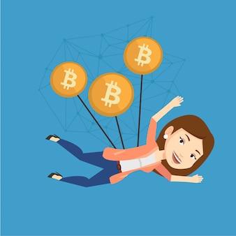Kaukasische geschäftsfrau, die mit bitcoin-münzen fliegt