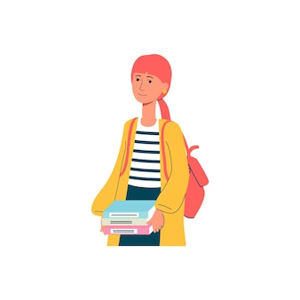 Kaukasische junge studentin oder schülerkarikaturfigur mit rucksack und büchern, flache vektorillustration lokalisiert auf weißer oberfläche