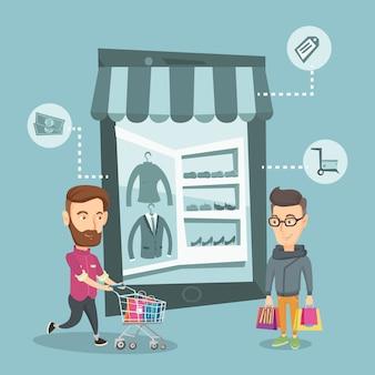 Kaukasische männer, die das on-line-einkaufen tun.