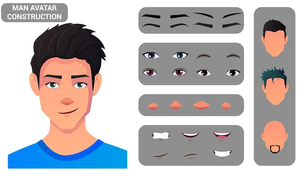 Kaukasische manngesichtskonstruktion und charaktererstellungsset haar, augen, lippen und kopfpackung