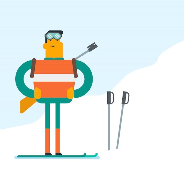 Kaukasischer biathlonläufer, der im berg steht