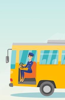 Kaukasischer busfahrer, der am lenkrad sitzt.