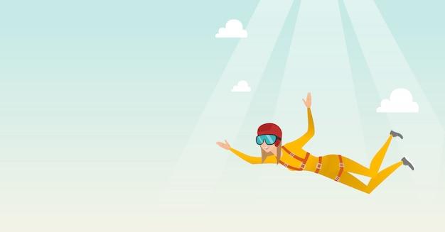Kaukasischer fallschirmspringer, der mit einem fallschirm springt