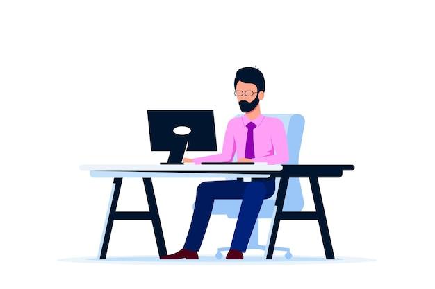 Kaukasischer geschäftsmann, der am computer am schreibtisch arbeitet. flacher stil.