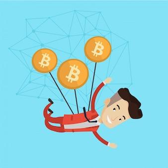 Kaukasischer geschäftsmann, der mit bitcoin-münzen fliegt.