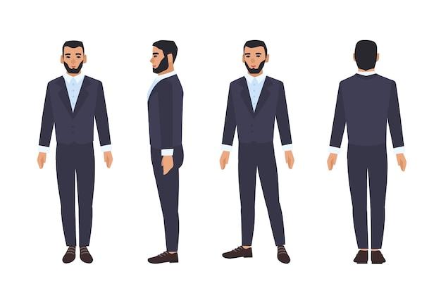 Kaukasischer geschäftsmann oder männlicher büroangestellter mit bart gekleidet im intelligenten anzug oder in der formellen kleidung. flache zeichentrickfigur lokalisiert auf weißem hintergrund.