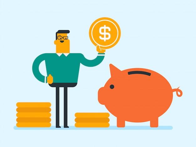 Kaukasischer manager, der eine münze in ein sparschwein einsetzt.