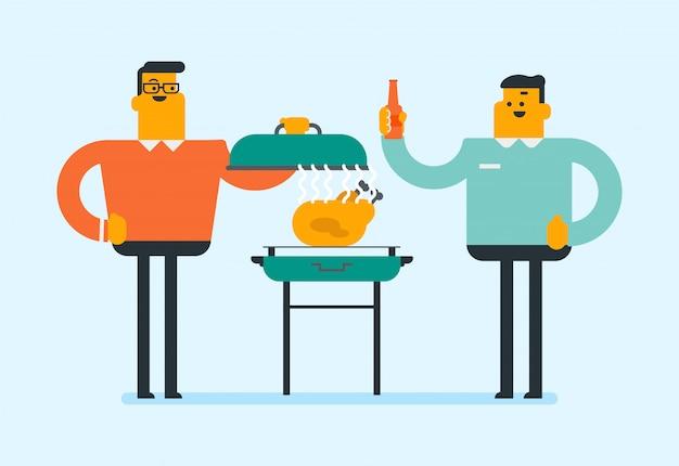 Kaukasischer mann, der huhn auf dem grill kocht.