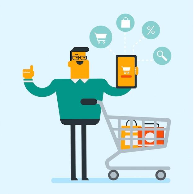 Kaukasischer mann, der tablette für das on-line-einkaufen verwendet.