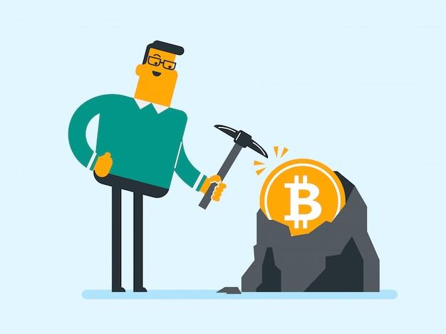 Kaukasischer mann mit der hacke, die in bitcoin bergwerk arbeitet