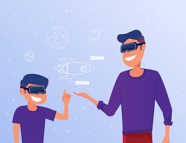 Kaukasischer mann und kind in vr-kopfhörern eine virtuelle rakete studierend.
