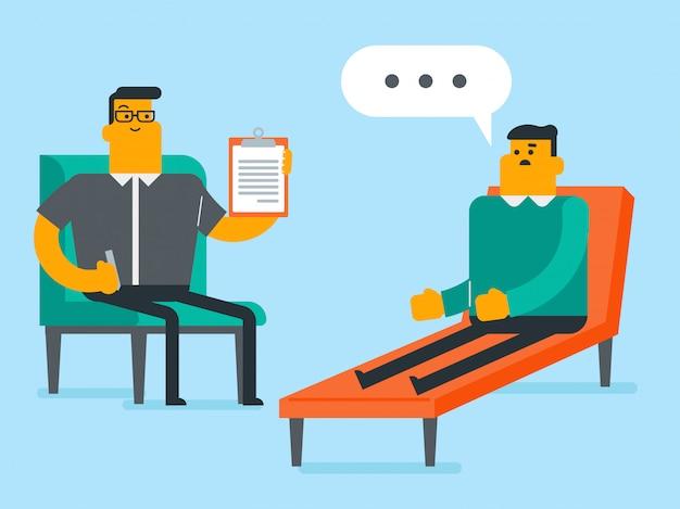 Kaukasischer psychologe, der sitzung mit patienten hat