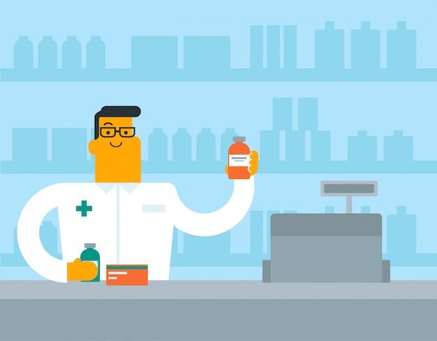 Kaukasischer weißer apotheker, der etwas medizin zeigt.