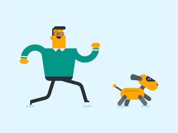 Kaukasischer weißer mann, der mit einem roboterhund spielt.