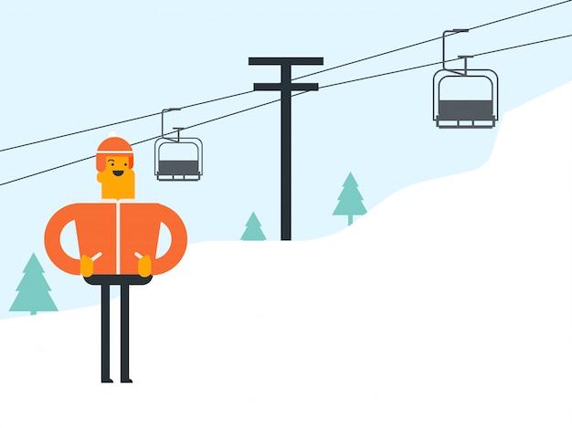Kaukasischer weißer skifahrer und kabelbahn am skiort.