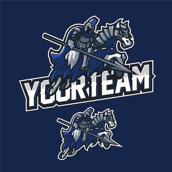 Kavallerie ritter esport gaming maskottchen logo vorlage