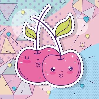 Kawaii äpfel kuppeln aufkleber mit herzen und sternen