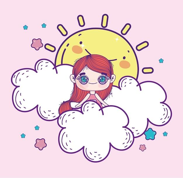Kawaii anime mädchen auf wolken
