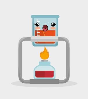 Kawaii becherlabor mit bunsenbrenner chemie