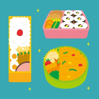 Kawaii bento box illustration