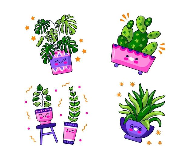Kawaii blumen- und pflanzenaufkleber