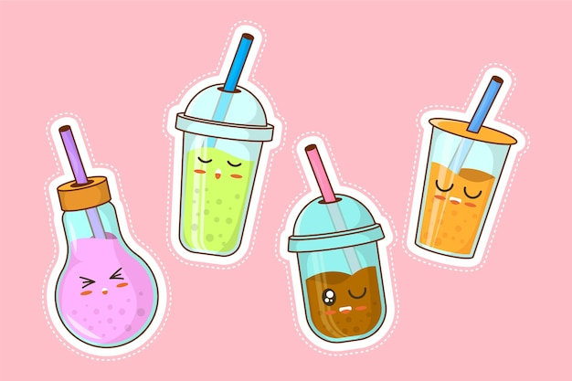 Kawaii bubble tea illustration