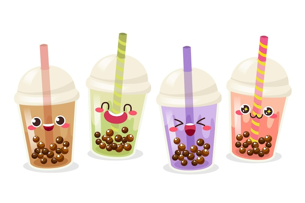 Kawaii bubble tea konzept