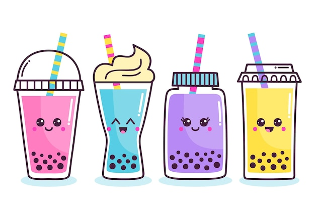 Kawaii bubble tea set