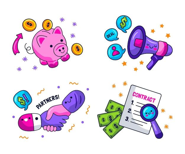 Kawaii business-sticker-kollektion