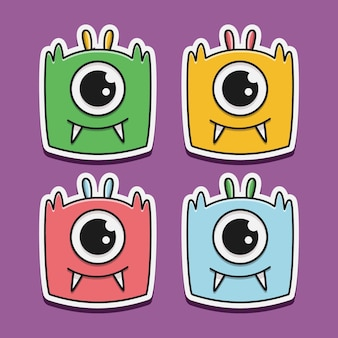 Kawaii cartoon monster doodle design illustration
