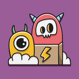 Kawaii cartoon monster doodle illustration