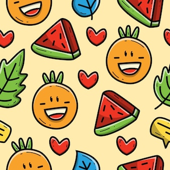 Kawaii cartoon orange und wassermelone gekritzel nahtlose muster design