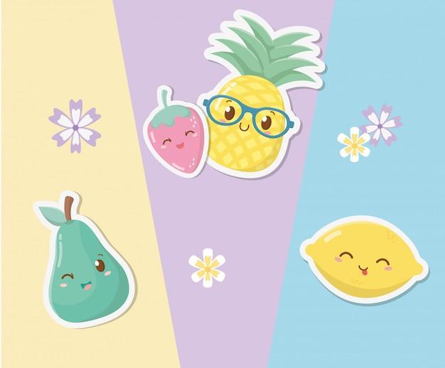 Kawaii charaktere der frischen und tropischen früchte