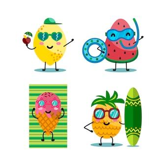 Kawaii charaktere früchte und eis
