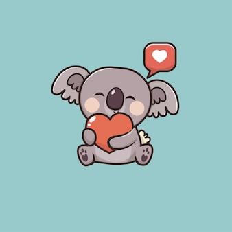 Kawaii cute animal koala icon maskottchen illustration