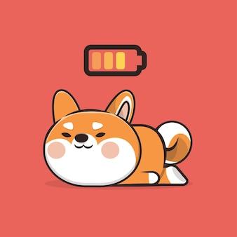 Kawaii cute animal slepping dog icon maskottchen illustration