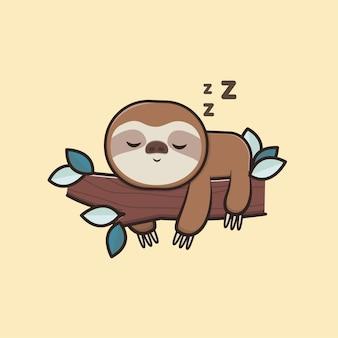 Kawaii cute animal wildlife lazy faultier schlafen symbol maskottchen illustration