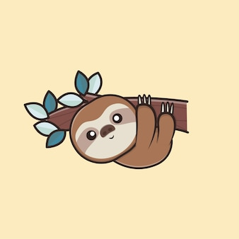 Kawaii cute animal wildlife lazy sloth icon maskottchen illustration