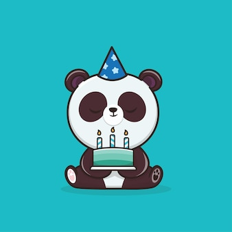 Kawaii cute animal wildlife panda mit geburtstagstorte icon maskottchen illustration