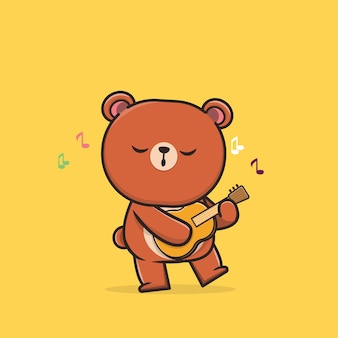Kawaii cute animal wildlife panda spielt ukulele icon maskottchen illustration