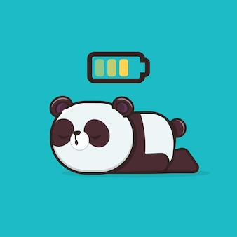Kawaii cute animal wildlife sleeping panda icon maskottchen illustration