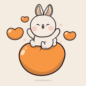 Kawaii cute bunny rabbit icon maskottchen illustration