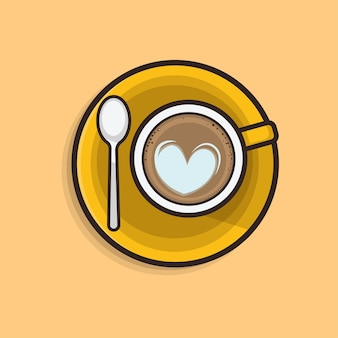 Kawaii cute flat illustration kaffee