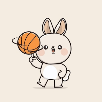 Kawaii cute icon bunny rabbit spielt basketball maskottchen illustration