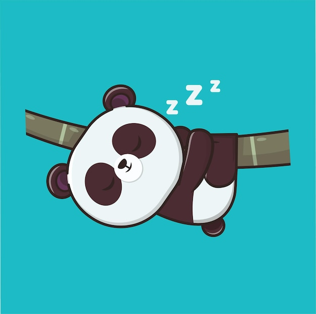 Kawaii cute panda sleeping illustration