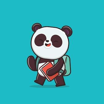 Kawaii cute panda zurück in die schule