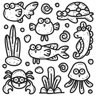 Kawaii doodle s von verschiedenen meerestieren vorlage