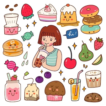 Kawaii doodle set mit süßen speisen und getränken Premium Vektoren