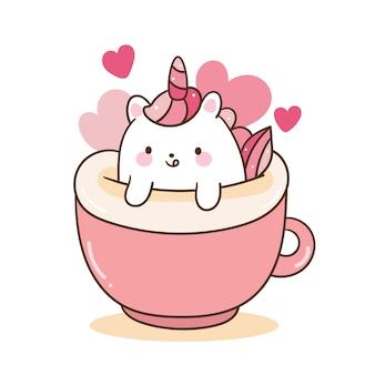 Kawaii einhorn-cartoon verlieben sich in kaffee